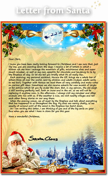 a preview of how the letter from santa will look